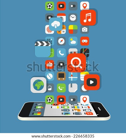 Different color icons flows to a modern smartphone. Design elements - stock vector
