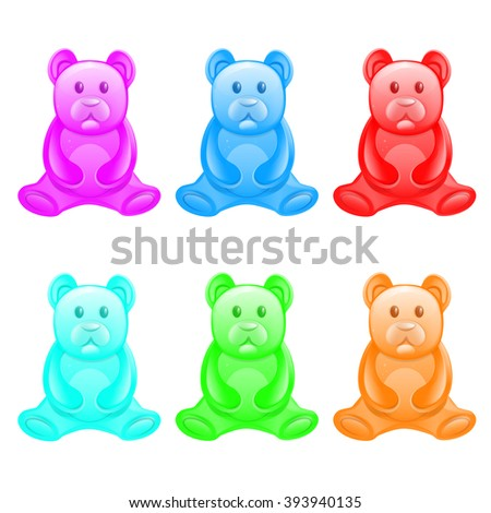 Different color jelly bears on a white background. - stock vector
