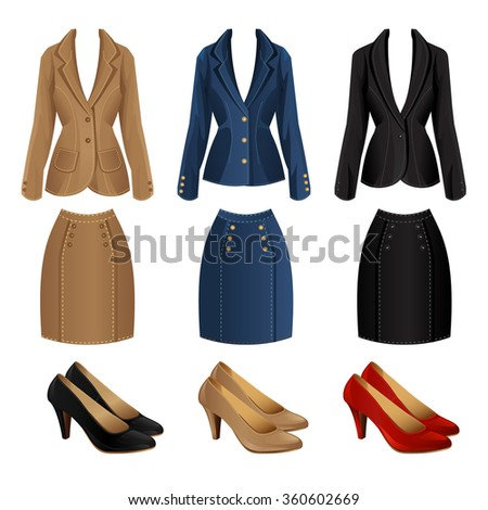 Different color of formal suits and shoes