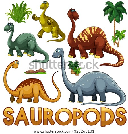 Different color of sauropods illustration - stock vector