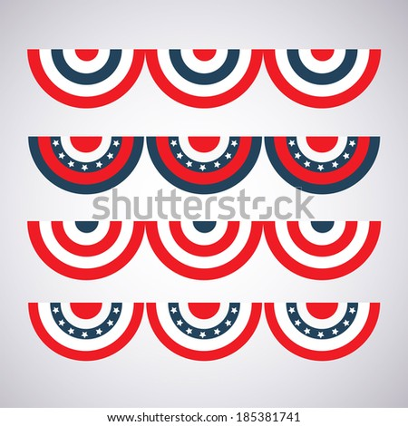 different color options flag bunting to decorate for Independence Day - stock vector
