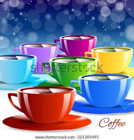 Different color paper cups isolated drink colorful - stock vector