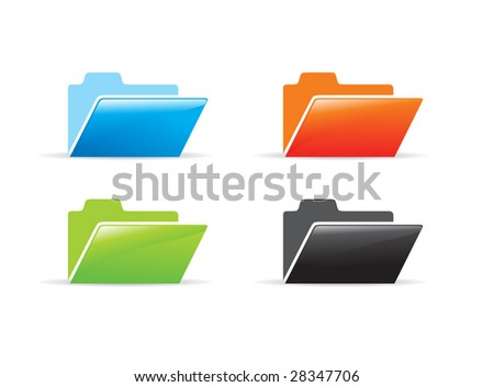 different color vector folder icon - stock vector