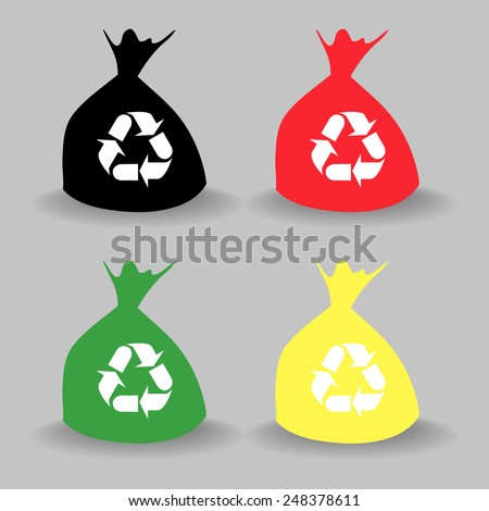 Different Colored bag bins icon  - stock vector