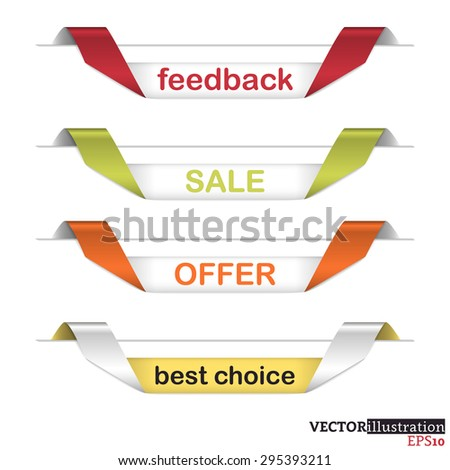 Different colored curled strips with text feedback, sale, offer and best choice. Vector illustration.