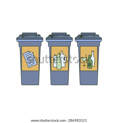 Different Colored Recycle bins, garbage separation with waste icon, illustration of waste management concept - stock vector