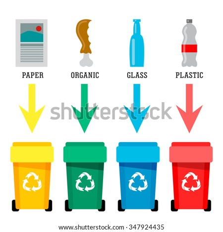 Different colored recycle waste bins vector illustration - stock vector