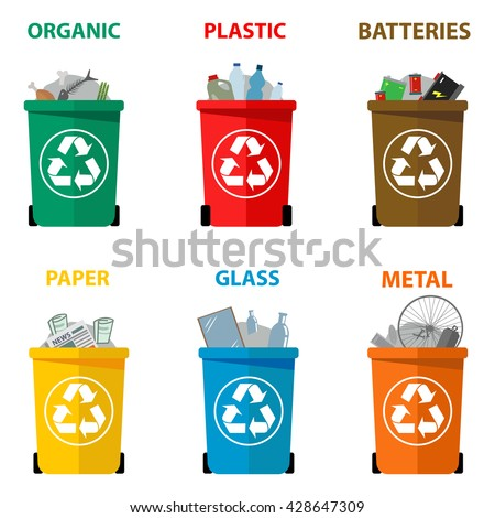 Different colored recycle waste bins. Waste types segregation recycling Organic, batteries, metal plastic, paper, glass waste. Vector illustration