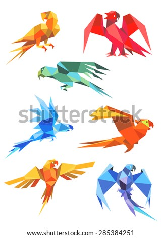 Different colorful origami paper stylized flying parrots, isolated on white background