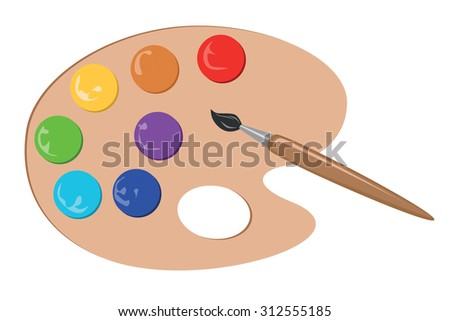 Different colors and paintbrush on palette, vector illustration