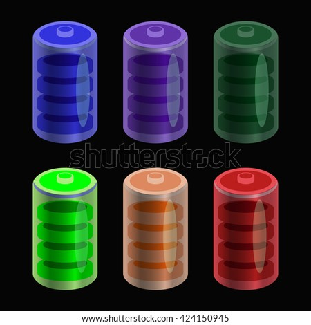 Different colors batteries set, on black background - stock vector