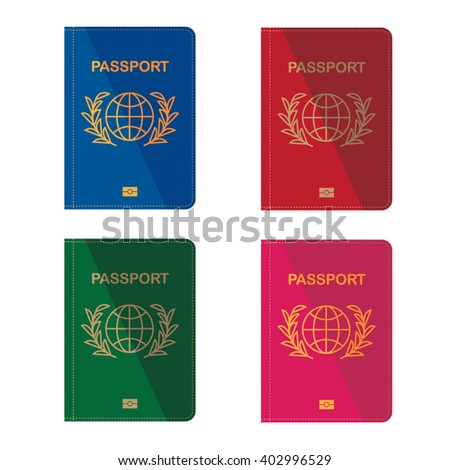 Different colors passports. Flat design. Vector illustration