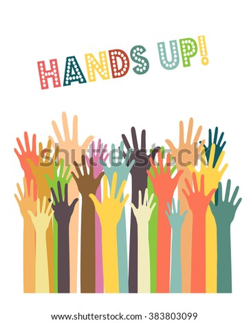 different colors raised hands, cultural and ethnic diversity concept flat vector poster