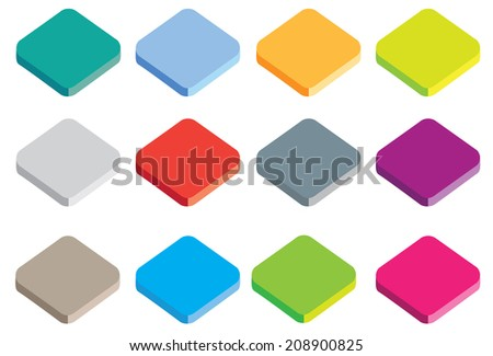 different coloured buttons or icons in isometric projection isolated on a white background - stock vector