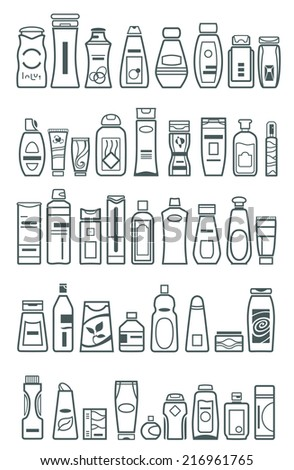 different cosmetic products for personal care, vector illustration - stock vector