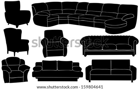 different couches and armchairs set - stock vector