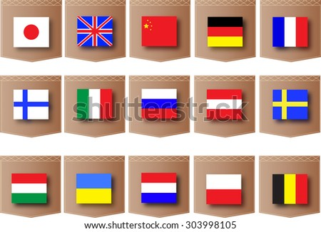 Different countries flags on pockets vector pattern for using in foreign language school advertisement design