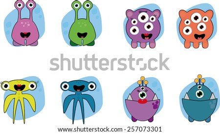 different couples of different cartoon aliens  - stock vector