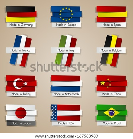 Different Creative Abstract Countries Made In Badges With Flags vector illustration - stock vector