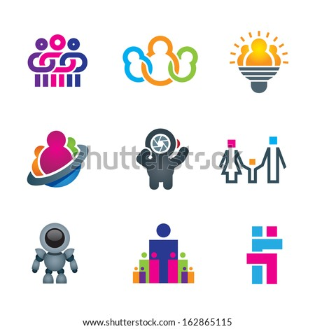 Different creative people interacting logo and creating fun and innovative ideas for future social community word of science icon set - stock vector