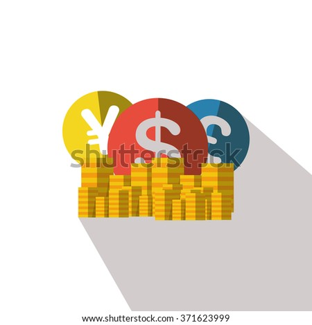 Different currencies flat icon with long shadows - stock vector