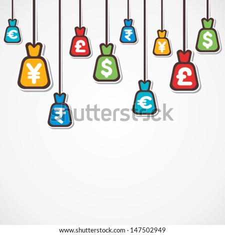 different currency bag hang background vector - stock vector