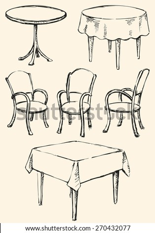different cute chairs and tables isolated on white used for celebration in cafeteria or restaurant