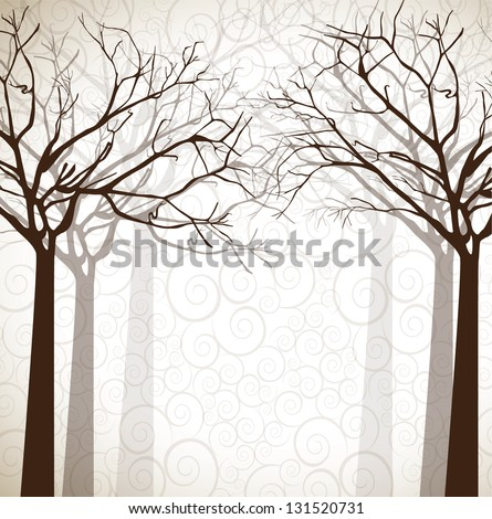 different dead trees over nature background vector illustration - stock vector