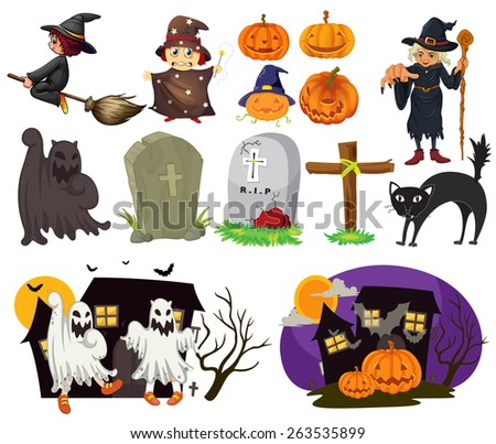 different design of halloween items and scenes - Halloween Items