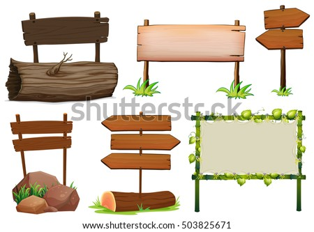 Different design of wooden signs illustration