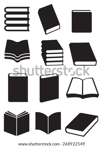 Different designs for books. Black and white vector icon illustration isolated on white background. - stock vector