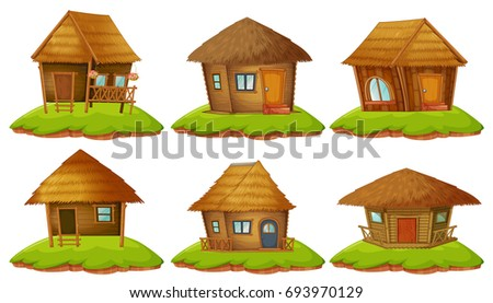 Old Fantasy Cottage House Home Cartoon Stock Vector