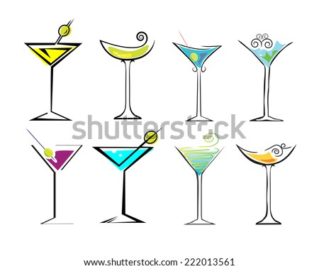 Different drinks and cocktails - stock vector