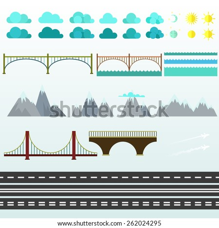 Different elements to the story collages. Vector. In flat style - stock vector