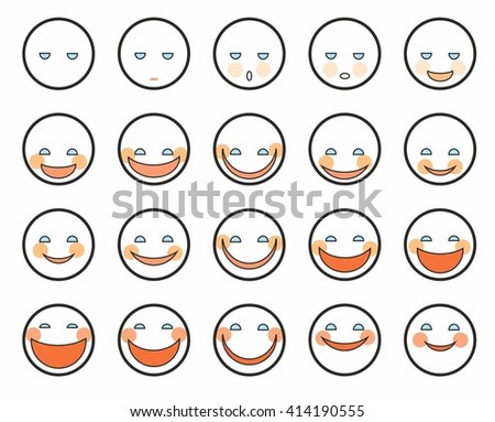 Different emotions, faces, icons. Vector round icons of faces with different emotions. Colored, cheerful, contour image on a white background.