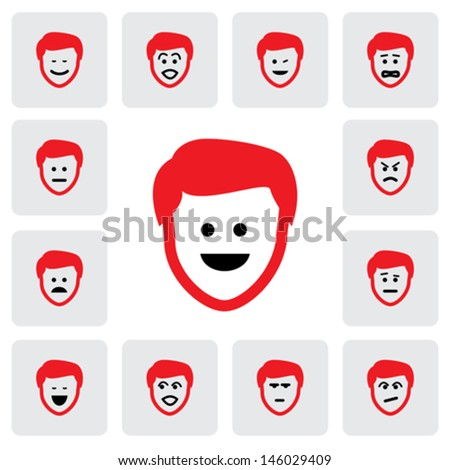 different emotions & feelings of young man's face- vector graphic. This illustration  represents feelings of sad, happy, depression, fear, worry, surprised, confident, doubtful, naughty, cheerful - stock vector