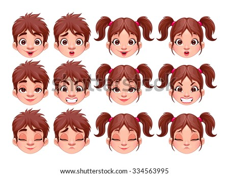 Different expressions of boy and girl. Vector isolated characters. - stock vector