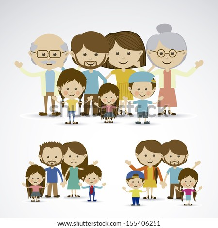 different families over gray background vector illustration - stock vector