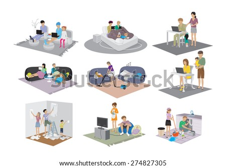 Different Family Situations In The House Set - Isolated On White Background - Vector Illustration, Graphic Design, Editable For Your Design - stock vector
