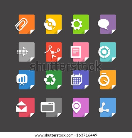Different file types icons set - stock vector