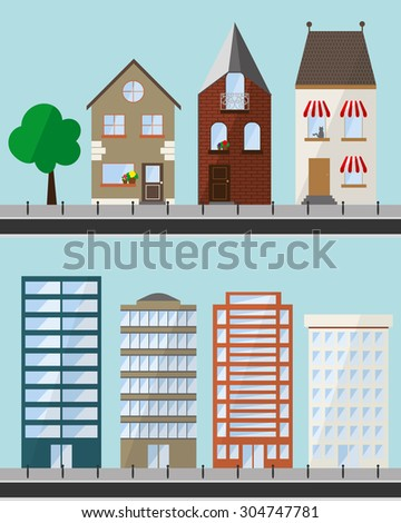 Set cartoon buildings expansion series stock vector for Different shapes of houses