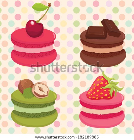 Different flavors and colors French macaroons with a different fruits on the top. Polka dot background. Vector illustration. - stock vector