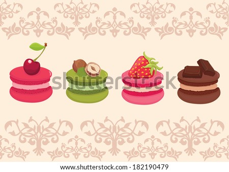 Different flavors and colors French macaroons with a different fruits on the top. Royal background. Vector illustration. - stock vector