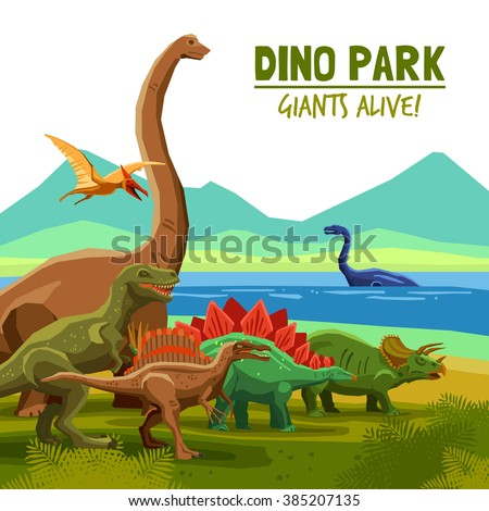 Different flying swimming and land dinosaurs with lake and mountains on background dino park cartoon poster vector illustration - stock vector