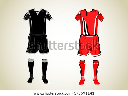 Different football Soccer uniforms. Vector  - stock vector