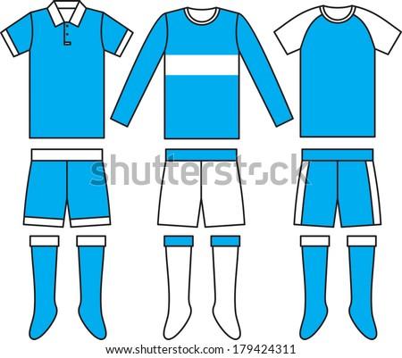 Different football Soccer uniforms. Vector illustration - stock vector