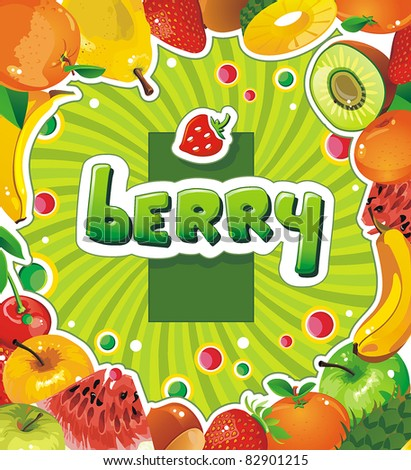 Different fresh Fruit and vegetable frame. Detailed vector illustration with juicy Fruit. Abstract Elegance food background. - stock vector
