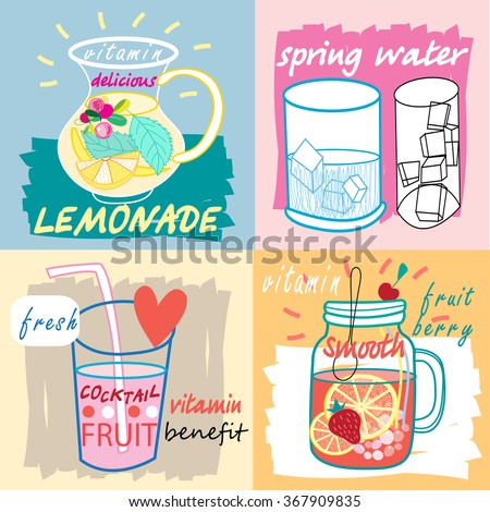 Different fruit drinks - Hand drawn style. Vector illustration. - stock vector