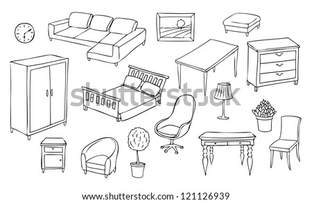 different furniture vector set - stock vector
