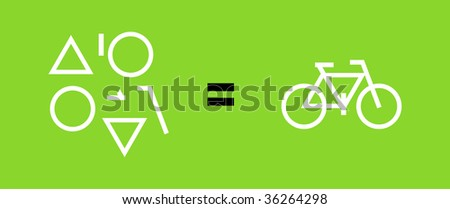 Different geometric shapes, equal sign, a bike. Green background. - stock vector